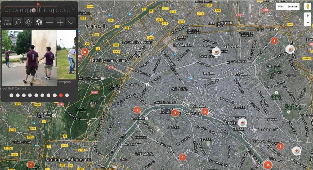 Urban golf street map
