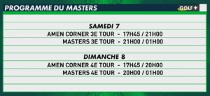 programme télé golf plus the masters