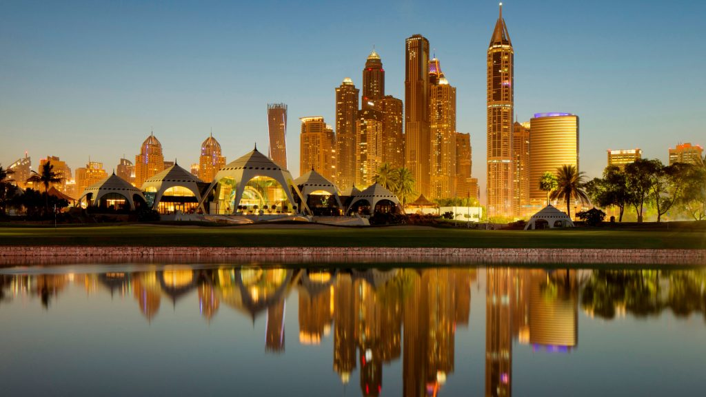 The club house of the Emirates Golf Club in Dubai at dusk